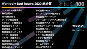 Wantedly Best Teams 2020 総合賞 受賞企業